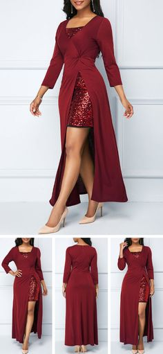 Sequin Embellished Wine Red Dress and Side Slit Dress.Get a festival wardrobe fr Pretty Outfits, Pretty Dresses, Sexy Dresses, Beautiful Dresses, Cool Outfits, Fashion Dresses, Evening Dresses, 50s Dresses, Party Dress Sale