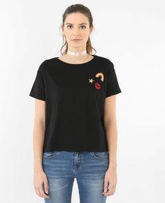 T-shirt à patchs noir