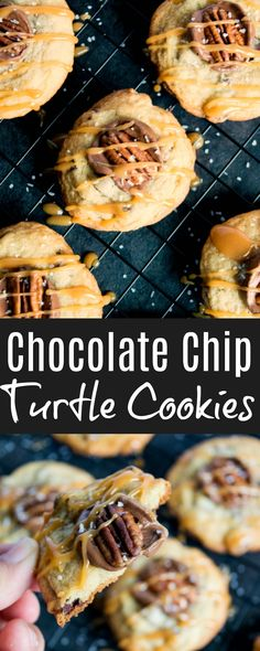 Chocolate Chip Turtle Cookies is part of Chocolate Chip Turtle Cookies Love Grows Wild - My Chocolate Chip Turtle Cookies are like regular chocolate chip cookies, but top with Rolo candies and more salted caramel awesomeness Cookie Desserts, Cookie Recipes, Dessert Recipes, Holiday Desserts, Turtle Dessert, Turtle Cookies, Delicious Desserts, Yummy Food, Easy Summer Desserts