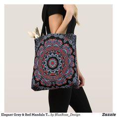 Elegant Grey & Red Mandala Tote Bag Red Accents, Printed Tote Bags, Edge Design, Clutches, Mandala, Shoulder Bag, Elegant, Sewing, Stylish