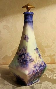 creativemuggle:    Antique Limoges Perfume Scent Bottle Hand Painted Violets Gold | eBay