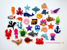 Sea Creatures felt magnets CHOOSE YOUR por LadybugOnChamomile