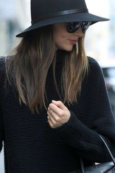 hat, sweater and shades
