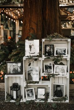 25 Backyard Wedding Ideas Stacked white crates filled with black and white photos of the bride and groom, eucalyptus, and lanterns for a personal decor statement that's both refined and rustic. Wedding Ceremony Ideas, Diy Wedding, Fall Wedding, Dream Wedding, Gown Wedding, Wedding Cakes, Wedding Rings, Wedding Photos, Cool Wedding Ideas