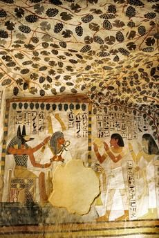 Wall painting. Thebes-West (Upper Egypt) Shaikh Abd al-Qurna, tomb of Sennefer (TT 96 b), coffin chamber.