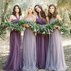Pas cher Robe de demoiselle d'honneur de mariage occidentales violet et argent…