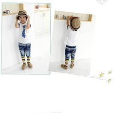 New Fashion Free Shipping Kids Summer O Neck T Shirt for Little Boys Casual Tops with Fake Tie Print K0199
