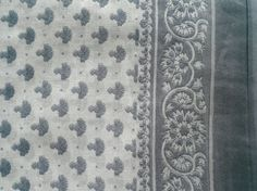 Block Print Fabric Indian Light Floral Cotton Gray Cream by RaajMa
