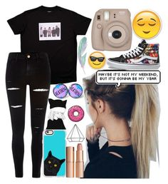 """""""The world would be better without people."""" by unicornpotter ❤ liked on Polyvore featuring Capelli New York, River Island, Vans, Casetify, Charlotte Tilbury, Fujifilm and Umbra"""