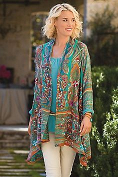 Soft Surroundings Miravilla Jacket Love the colors ❤️ jacket Boho Fashion Over 40, Over 50 Womens Fashion, Fashion Over 50, Ethnic Fashion, Look Fashion, Street Fashion, Bohemian Fashion, Plus Size Outfits, Trendy Outfits