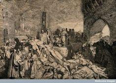 Boccaccio - Decamerón : la peste en Florencia en 1348. Grabado de Luigi Sabatelli (1772-1850)