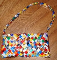 Upcycling: Candy wrapper purse. Can also be made with other food wrappers, or pages from magazines, books, newspapers, maps, etc.