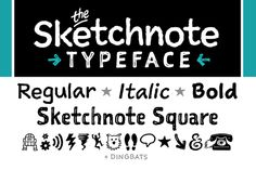 Ad: The Sketchnote Typeface: Full Family by Rohdesign Studios Shop on SALE! Saturday, September only! The Sketchnote Typeface was born of necessity: I needed a