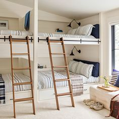lake tahoe house bunk room, coastal bedroom design, nautical bunk room design, shared kid bedroom with built in bunkbeds in blue and white bedroom decor, shared kid room at lake houses Bunk Bed Rooms, Kids Bunk Beds, Corner Bunk Beds, Home Bedroom, Kids Bedroom, Bedroom Decor, Lake House Bedrooms, Modern Bedroom, Bedroom Ideas