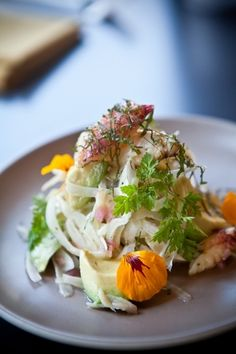 dungeness crab, nasturtium, avocado and shiso salad