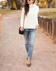 leopard flats and chunky sweater
