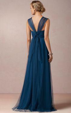 Tulle Zipper V-neck Floor-length Natural Bridesmaid Dresses_2  LeAnne tons of colors