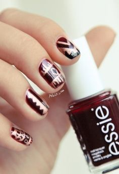 Tribal oxblood nails for fall!