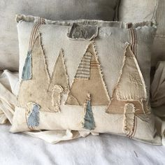 NOW SOLD My favorite grain sacks are the ones full of patches. I hate cutting them up, but when I do I make sure that I use every single… Christmas Sewing, Primitive Christmas, Christmas Love, Christmas Projects, Holiday Crafts, Xmas, Sewing Pillows, Diy Pillows, Decorative Pillows