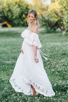 Maternity Solid White Lace Off Shoulder Dress – peekkabo Vestidos Para Baby Shower, Baby Shower Dresses, White Maternity Dresses, Maternity Fashion, Maternity Clothing, Boho Maternity Dress, Maternity Photoshoot Dress, Maternity Wedding, Summer Maternity