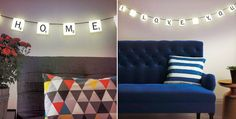 UK-based gift company 'Paladone' has turned the popular board game Scrabble into a customisable light set that you can hang on your wall. Deco Originale, Scrabble Tiles, Creative People, Hanging Lights, E Design, Decoration, Cool Gifts, Board Games, New Homes