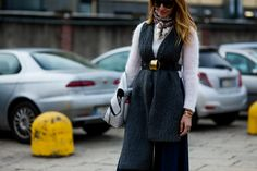 Tiany Kiriloff before the Gucci Fall 2016 fashion show in Milan, Italy