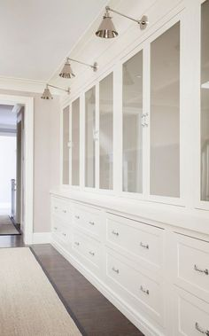 I love the lights Hall Linen Built ins, Hall Linen Built in design, Linen closet with Lighting, Hall Linen Built ins Chango & Co Home Decor Bedroom, Interior Design, Hallway Storage, Home, Interior, Build A Closet, Home Decor, Built In Cabinets, New England Farmhouse