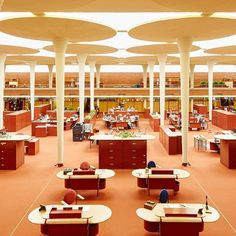 office space SC Johnson building in WI, designed by Frank Lloyd Wright, Johnson Wax, Pierre Yovanovitch, Wisconsin, Space Program, Commercial Interiors, Mid Century Design, Really Cool Stuff, Places To See