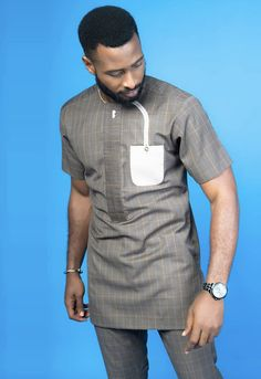 Cossly... African Wear Styles For Men, African Shirts For Men, African Dresses Men, African Attire For Men, African Clothing For Men, Nigerian Outfits, Nigerian Men Fashion, African Men Fashion, Big Men Fashion