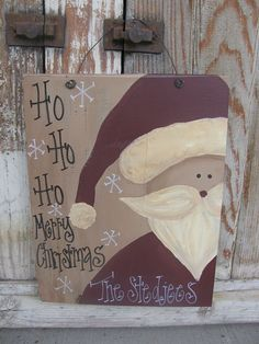 Hand Painted Personalized Santa Claus sign. Ive painted lots of other seasonal signs so adding Mr. Claus was an easy choice! Each one is hand
