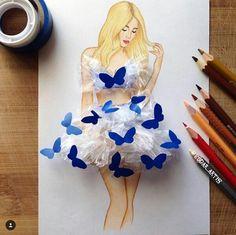 Armenian Fashion Illustrator Creates Stunning Dresses From Everyday Objects - abiti moda - Fashion Design Drawings, Fashion Sketches, Fashion Illustrations, Fashion Drawings, Art Illustrations, Arte Fashion, Dress Fashion, Fashion Fashion, Trendy Fashion