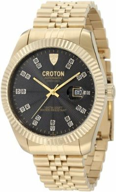 Croton Men's CN307352YLBK Automatic Diamond Accented Black Guilloche Dial Gold Tone Ion-Plated Stainless Steel Watch Croton. $117.00. Water-resistant to 100 M (330 feet). Date function. Black guilloche dial with gold tone hands; diamond hour markers; luminous; exhibition case back. Mineral crystal; brushed gold tone ion-plated stainless steel case and bracelet. Precise 21 jewels japanese automatic movement