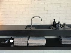 Piet Boon by COCOON awarded deck mounted tap in Brushed Stainless Steel | new washbasin in Black Corian designed by Piet Boon | available via our website bycocoon.com | bathroom design | kitchen design | luxury design | Dutch Designer Brand COCOON