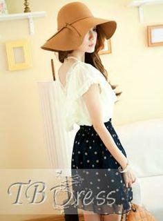 Pretty Korean Style Laciness Polka Dots  V-neckline Dress chic look!