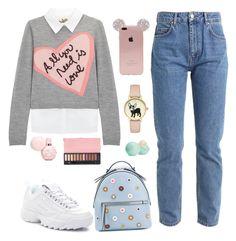A fashion look from February 2018 featuring gray shirt, blue jeans and Fila. Alice Olivia, Eos, Fendi, Polyvore, Accessories, Fashion, Moda, Fashion Styles, Fashion Illustrations