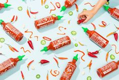 Sriracha - Rice Paper Scissors x Andria Lo Kettle Chips, Stuffed Sweet Peppers, Still Life Photography, Rice Paper, Hot Sauce Bottles, Be Still, Scissors, Food, South London