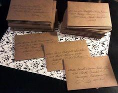 "Wedding Invitation Calligraphy.  ""Fancy Script"" on kraft envelopes. www.calligraphybycarrie.com"