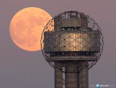 Going to be out until the break of dawn? You may just catch the Supermoon high above Dallas at 5 a.m. The moon will be 14 percent larger and 30 percent brighter than when the moon is at its farthest from Earth, according to @nasa. Our staff photographer @weatherfox captured an early look at the Supermoon with @reuniontower Sunday night. #supermoon #supermoon2016 #mydtd #dallas
