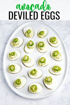 These party-ready avocado deviled eggs are an easy appetizer recipe for all get-togethers - St. Patrick's Day, summer barbecues or birthdays. Avocado Deviled Eggs, Deviled Eggs Recipe, Easy Appetizer Recipes, Appetizer Dips, Avocado Recipes, Keto Recipes, Yummy Recipes, Catering, Eggs