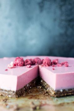 #vegan - A bright and fresh tasting raspberry, lime and coconut flavoured allergy-friendly, vegan cheesecake on a raw seed and cacao base.