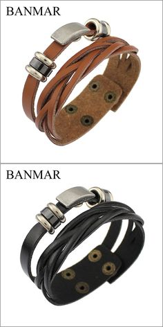 BANMAR 2016 Leather Cuff Double Wide Bracelet & Bangles Brown For Men Fashion Man Bracelets Unisex Jewelry Vintage Punk Bracelet