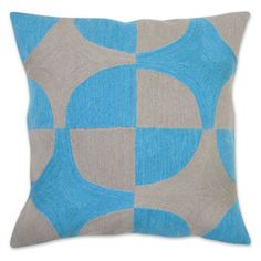 Jonathan Adler brasilia circles pillow in grey and teal