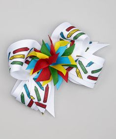 Look what I found on #zulily! Picture Perfect Hair Bows White & Red Crayon Surprise Bow Clip by Picture Perfect Hair Bows #zulilyfinds