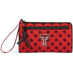 Vera Bradley Front Zip Wristlet in Scarlet/Black Mini Concerto with... ($42) ❤ liked on Polyvore featuring bags, handbags, clutches, accessories, new arrivals, black clutches, pocket purse, wristlet clutches, mini wristlet and vera bradley