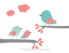 Nursery Art, Kids Wall Art, Children's Room Decor, Birds, Turquoise, Coral, Friends in High Places, 8x10 Print. $14.00, via Etsy.