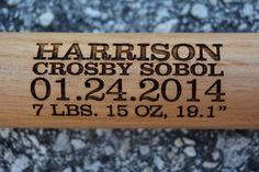 Personalized Baseball Bat Birth by UrbanFarmhouseTampa on Etsy, $18.00