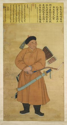 IMPERIAL COURT PAINTING OF THE BANNERMAN CEMCUKJAB ATTRIBUTED TO AI QIMENG (IGNAZ SICHELBART) (1708-1780) AND JIN TINGBIAO (FL. 1757-1767)QING DYNASTY, QIANLONG PERIOD, DATED TO 1760 hanging scroll, ink and color on silk portraying the commanding officer of the northern borders of the Qing empire, with a distinguished war-weathered face, donning a fur-lined hat marked by a red glass bead and a peacock feather with a single-eyed plume, danyan hualing, dressed in a beige striped robe ...