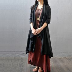 Women autumn cotton linen loose Long robe covered coat - Tkdress  - 1
