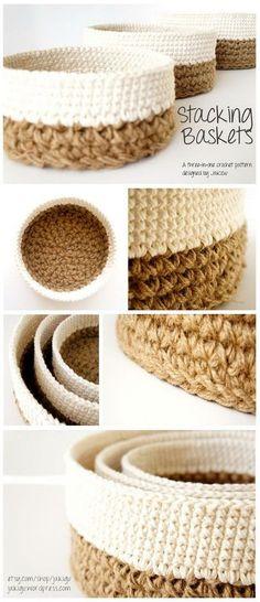 Crochet Round Stacking Baskets.