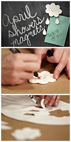 """""""HGTV Crafternoon: April Showers Magnets"""" love it! Ceramics Projects, Clay Projects, Clay Magnets, Diy And Crafts, Crafts For Kids, Keramik Design, Diy Clay, Air Dry Clay Crafts, Design Blog"""